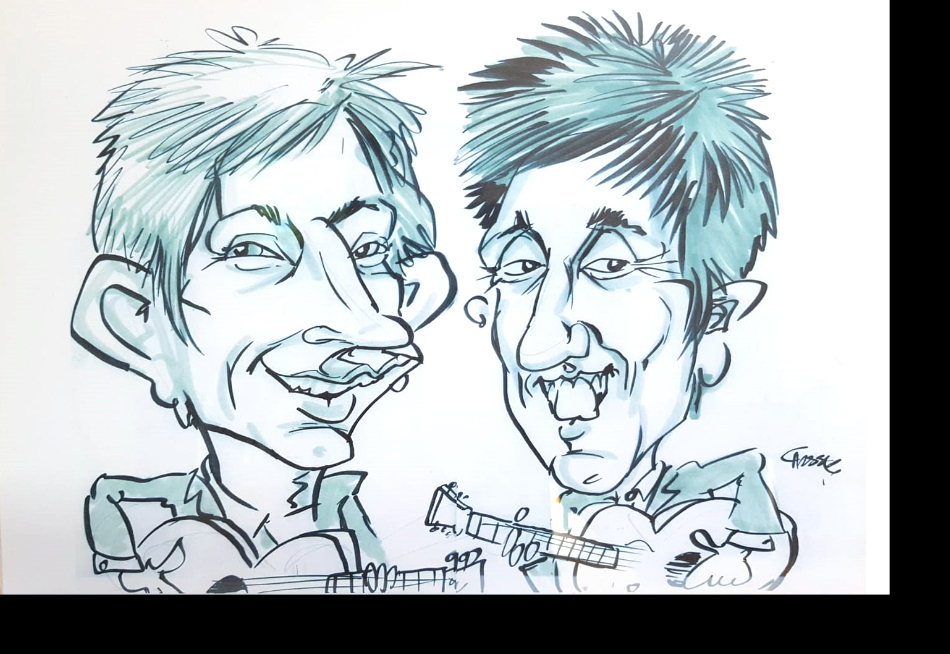 moon loungers acoustic duo caricature